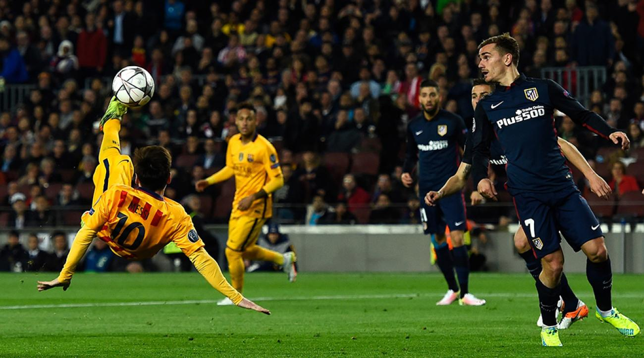 Champions league lionel messi almost scores bicycle - Messi bicycle kick assist ...
