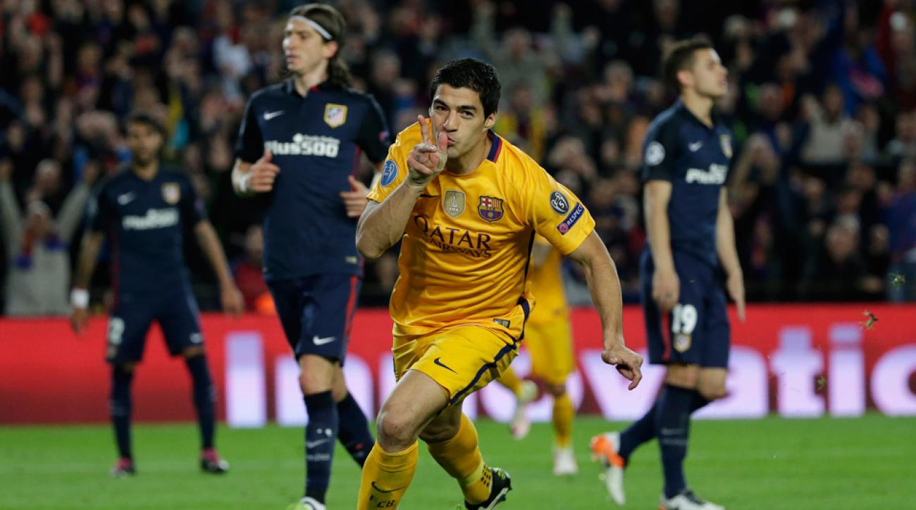 Luis Suarez scored twice for Barcelona in a Champions League win over Atletico Madrid