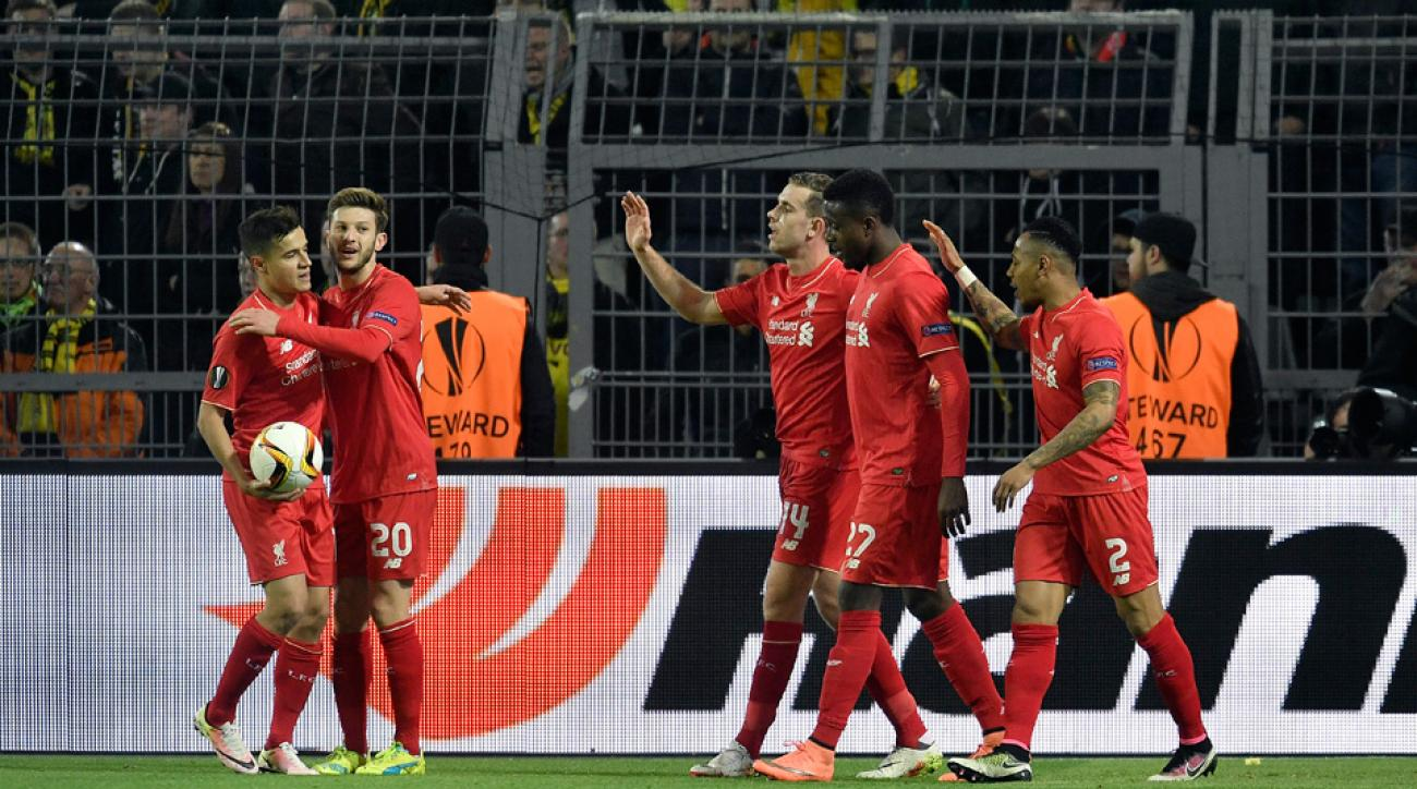 Liverpool celebrates Divock Origi's goal vs. Borussia Dortmund in the Europa League