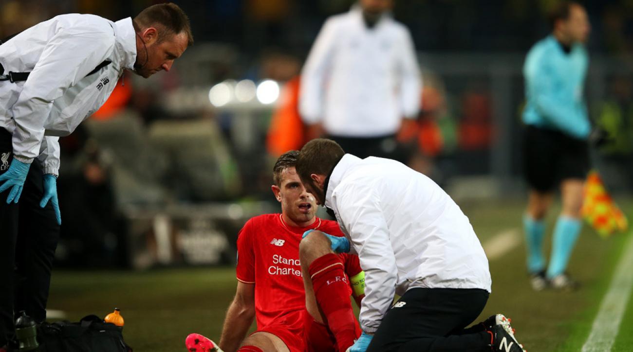 Jordan Henderson suffered a knee injury in Europa League