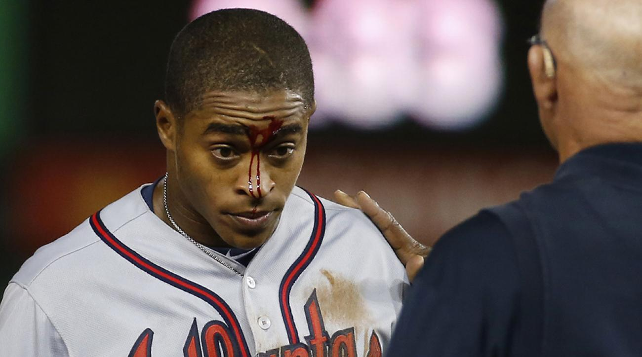 mallex smith injury braves mlb debut face cut