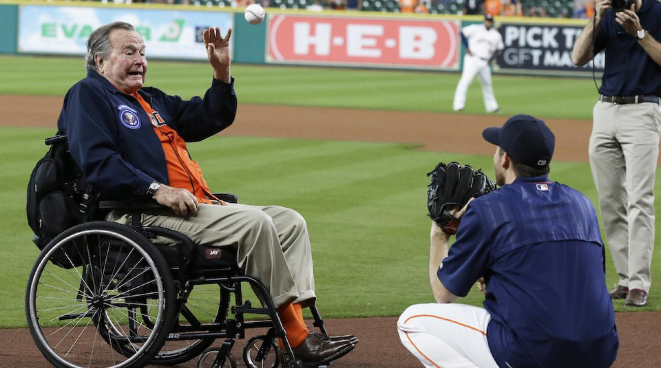 george hw bush first pitch video