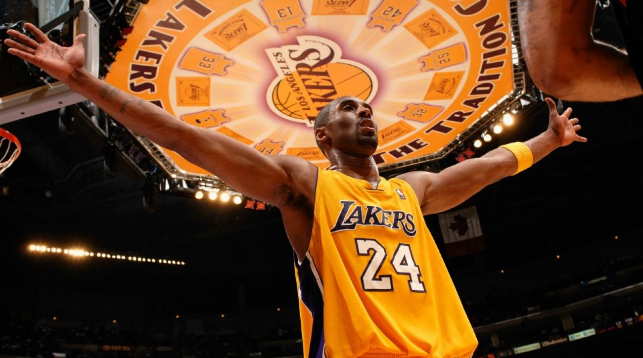 Kobe Bryant honored with No. 8 and No. 24 on the floor