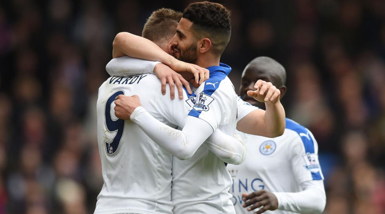 Leicester City's Jamie Vardy, Riyad Mahrez and N'Golo Kante