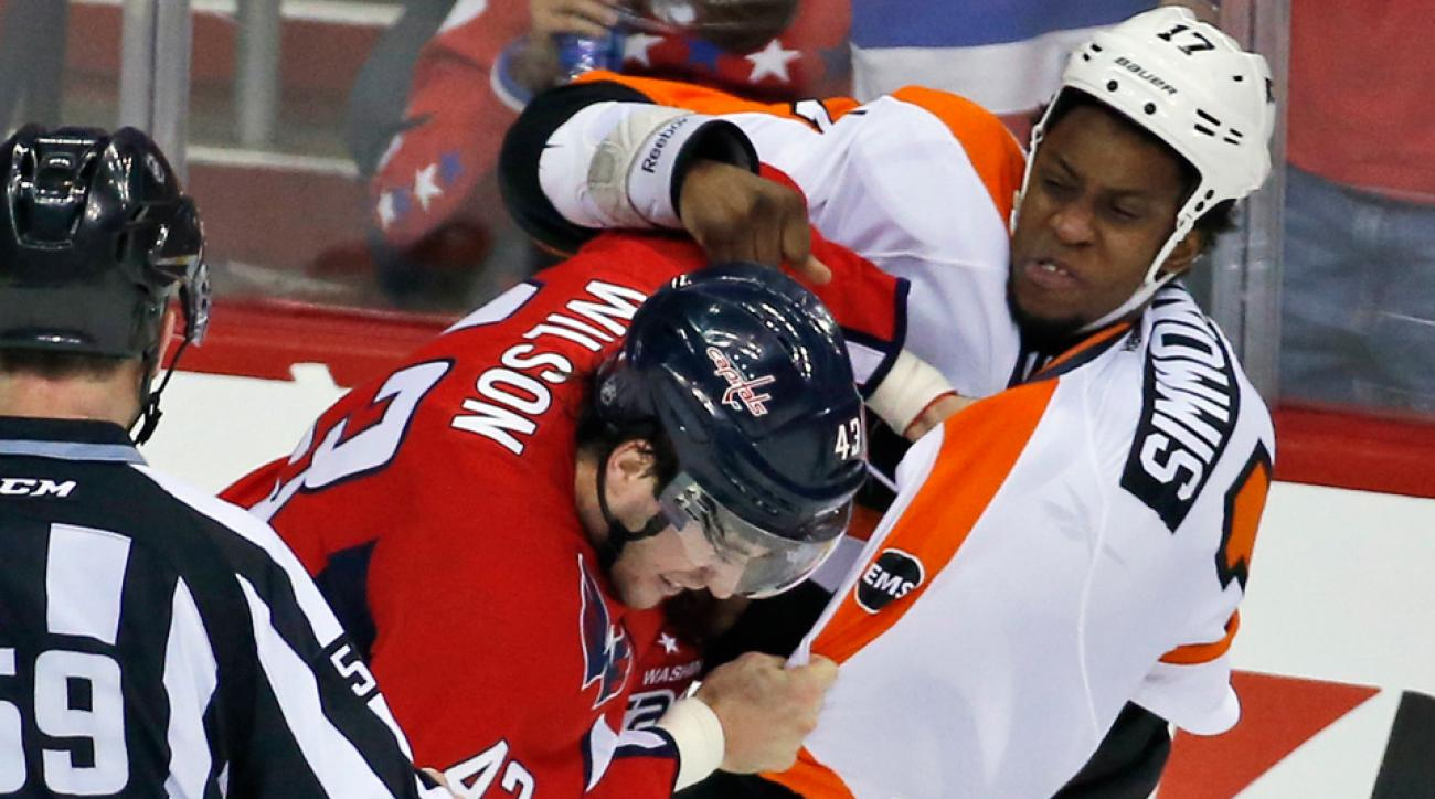 washington capitals philadelphia flyers series game 1 fights highlights