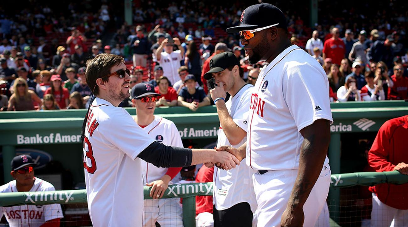 boston marath bombing survivor jeff bauman red sox video pitch