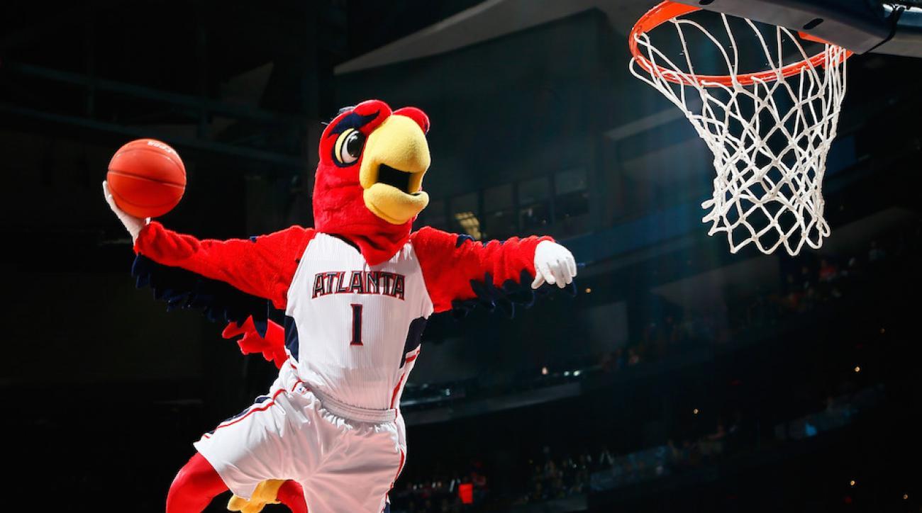 hawks celtics mascot injury video