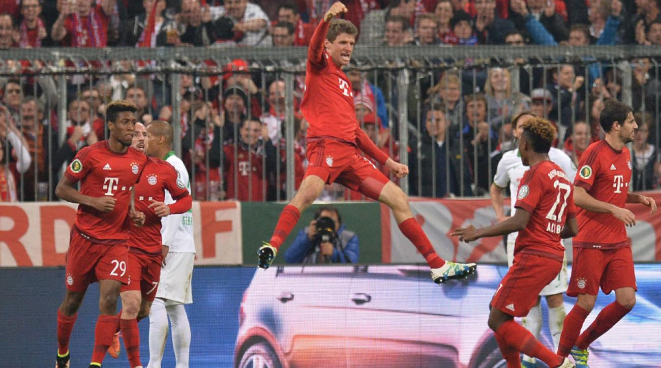 Thomas Muller celebrates his goal for Bayern Munich in the DFB Pokal semifinals