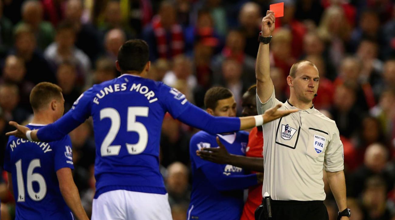 Ramiro Funes Mori is sent off for Everton in the Merseyside derby vs. Liverpool