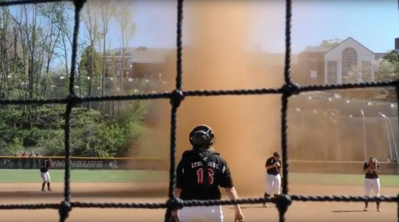 lynchburg college softball dirt tornado video