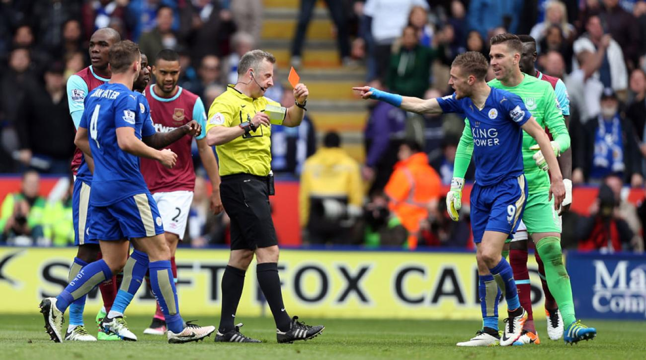 Jamie Vardy was sent off in Leicester City's draw vs. West Ham