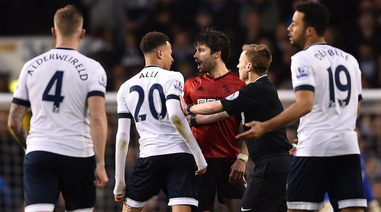 Dele Alli appears to punch Claudio Yacob during Tottenham's 1-1 draw with West Brom