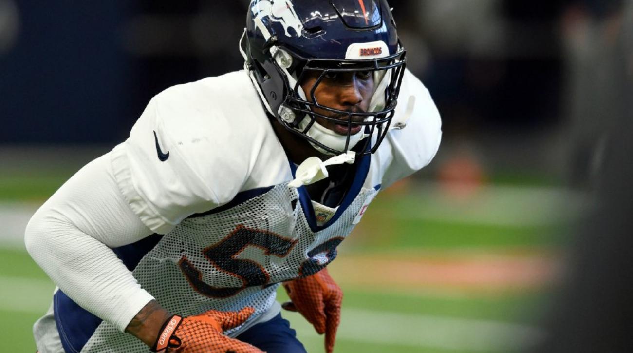 Denver Broncos' Von Miller tries out the running man challenge