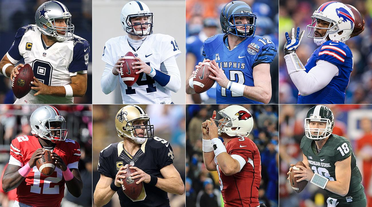 Top row, left to right: Tony Romo, Christian Hackenberg, Paxton Lynch, Tyrod Taylor. Bottom row: Cardale Jones, Drew Brees, Carson Palmer, Connor Cook.
