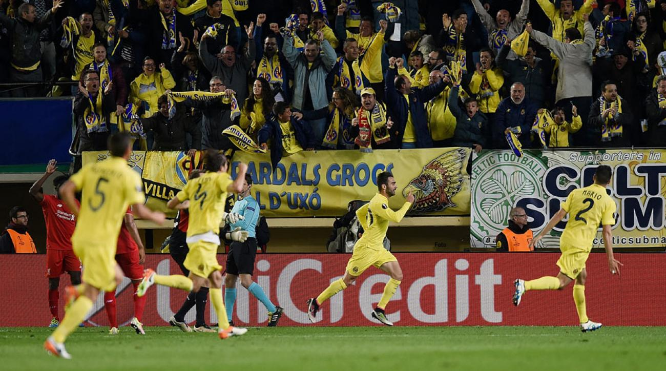 Villarreal's Adrian celebrates his game-winning goal vs. Liverpool in Europa League