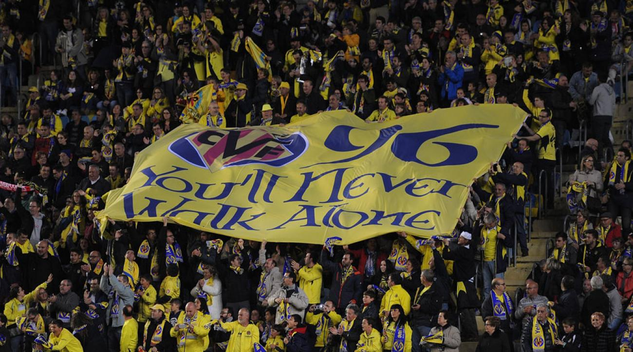 Villarreal fans pay tribute to the Hillsborough victims