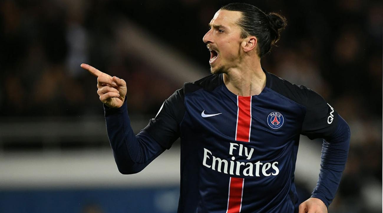 Zlatan Ibrahimovic scored twice but missed on a no-look shot vs. Rennes on Friday