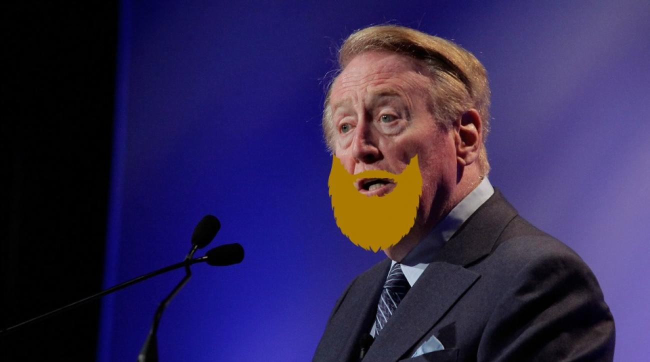 Vin Scully talked about the history of beards during a game