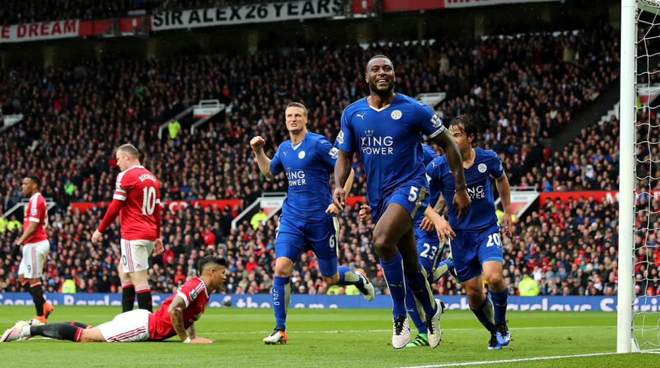 Wes Morgan scores an equalizer for Leicester City at Manchester United