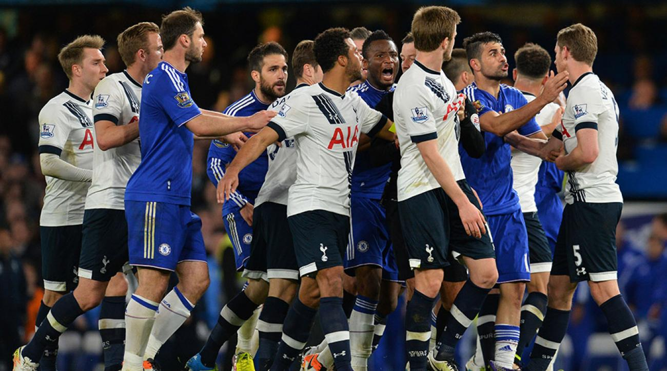 tottenham chelsea players fight video