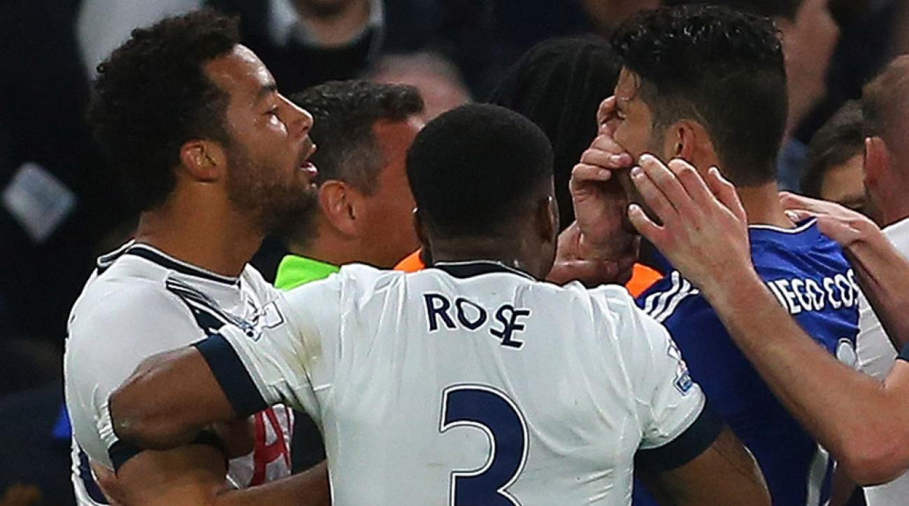 Mousa Dembele pokes Diego Costa in the eye in Tottenham's match vs. Chelsea