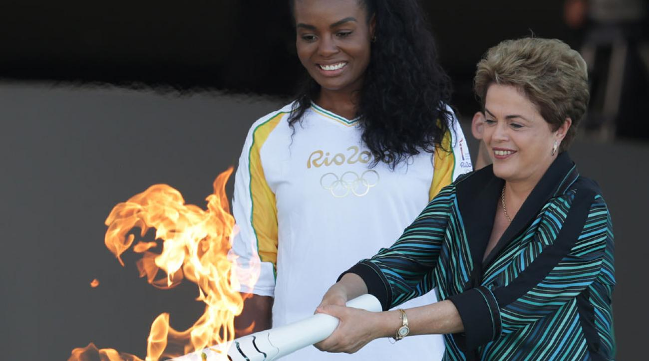 olympic flame brazil torch relay dilma rousseff