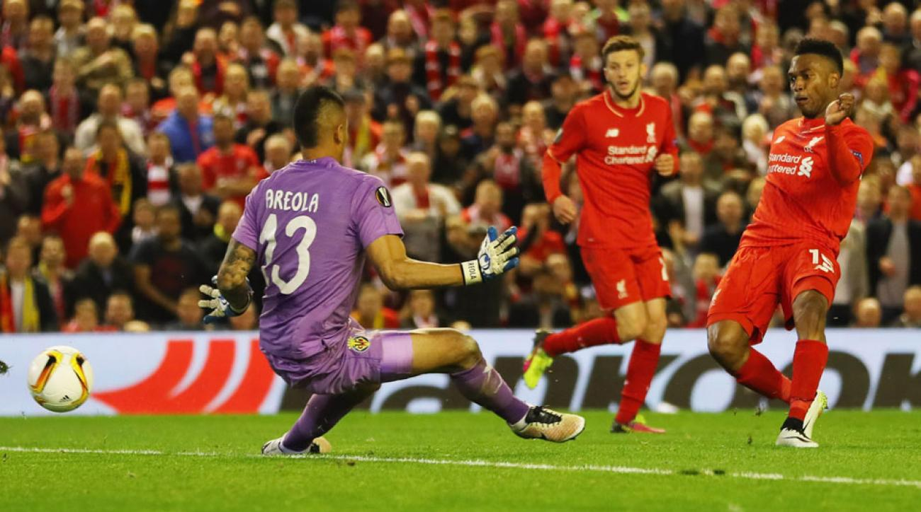 Daniel Sturridge scores Liverpool's decisive goal in the Europa League semifinals