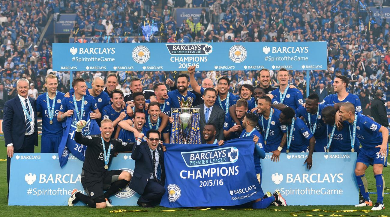 A team photo for the ages: Leicester City with its Premier League championship trophy.