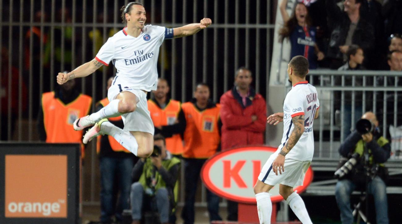 Zlatan Ibrahimovic is within one of France's single-season goal record