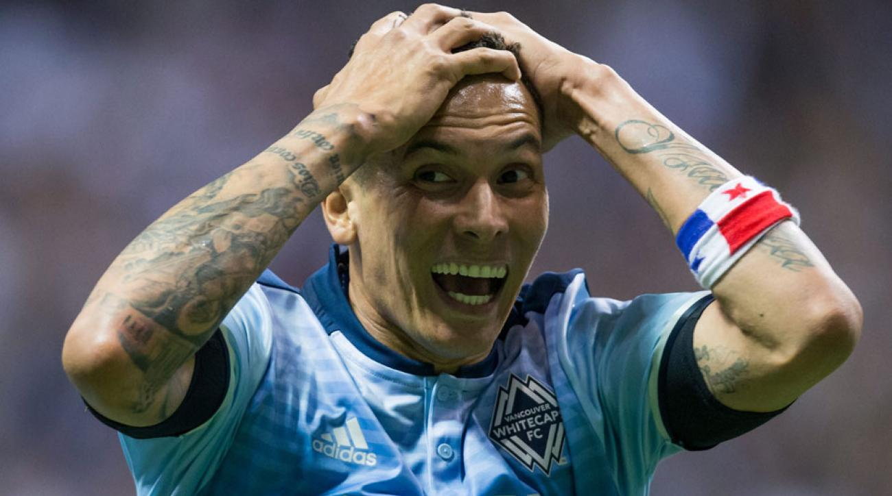 Blas Perez celebrates his bicycle kick winner for Vancouver