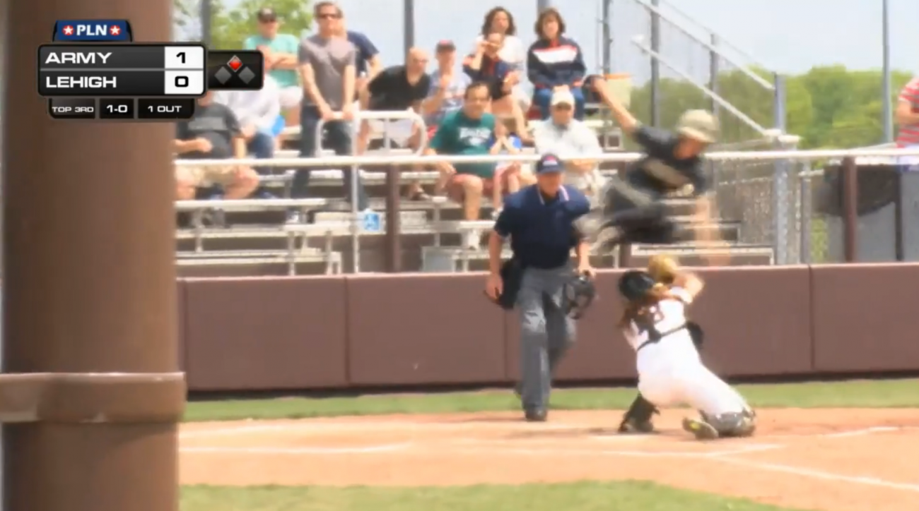 army softball jump over catcher