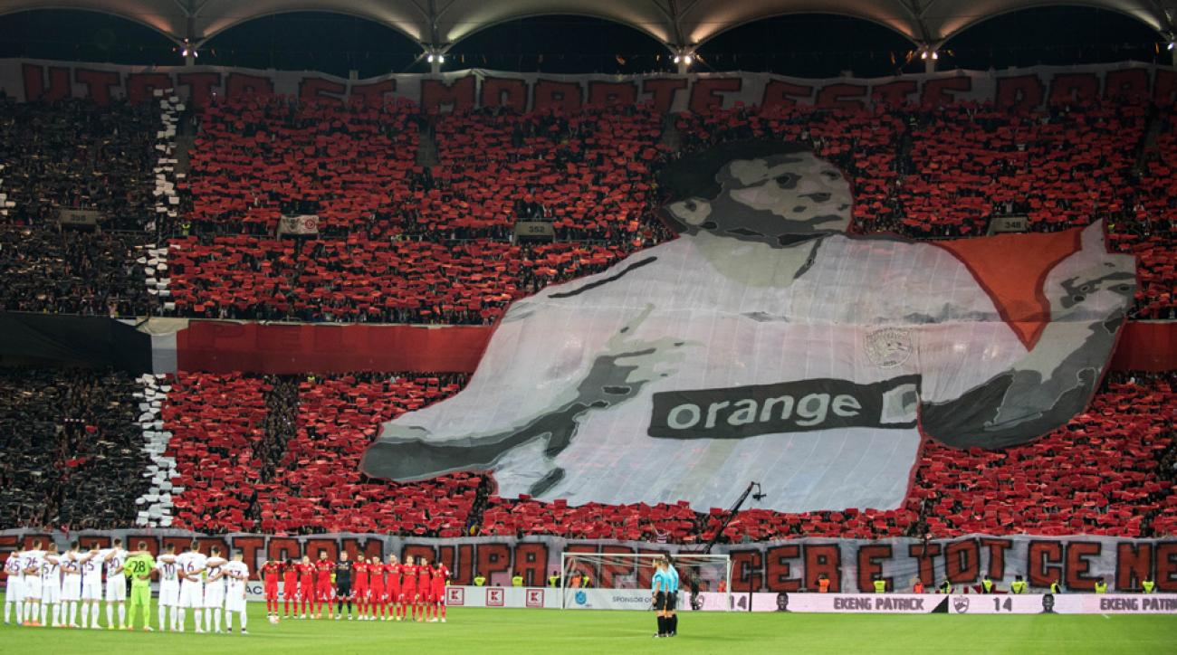 Dinamo Bucharest fans honor the late Patrick Ekeng