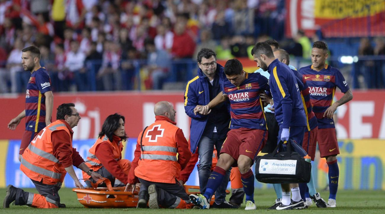Luis Suarez injured his hamstring in the Copa del Rey final