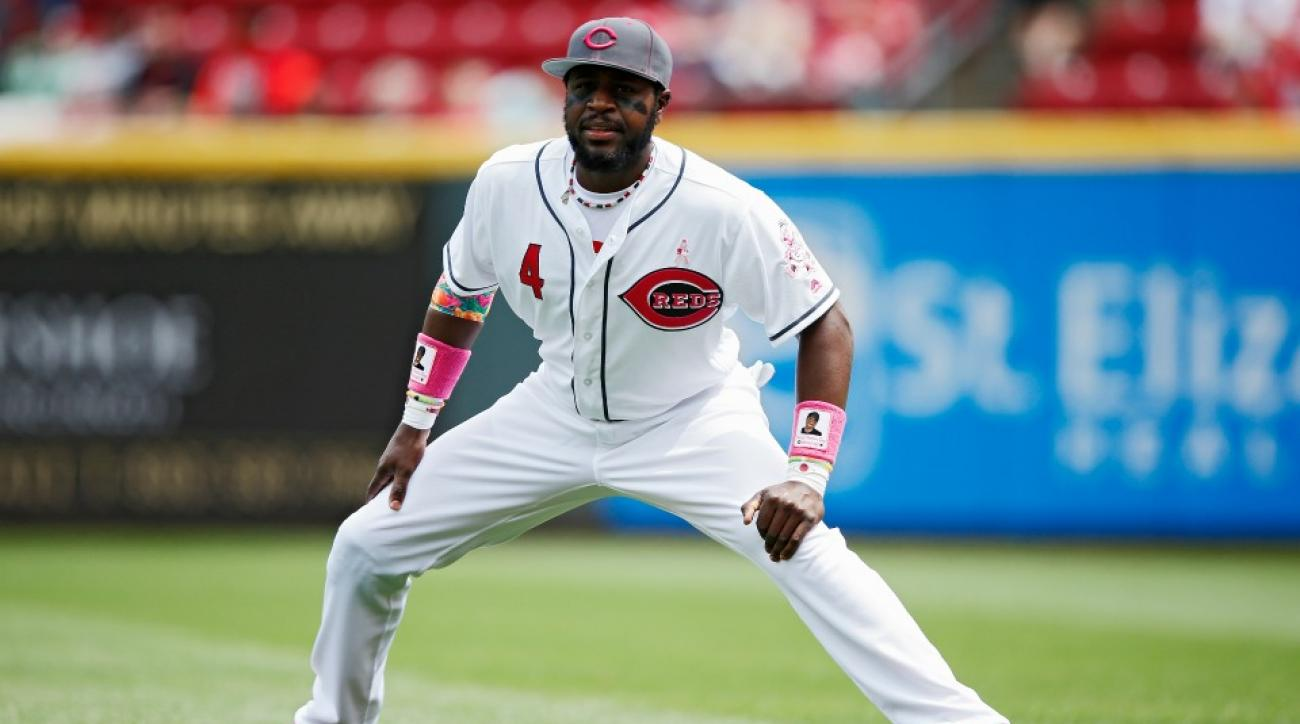 Reds' Brandon Phillips brought his sone to batting practice