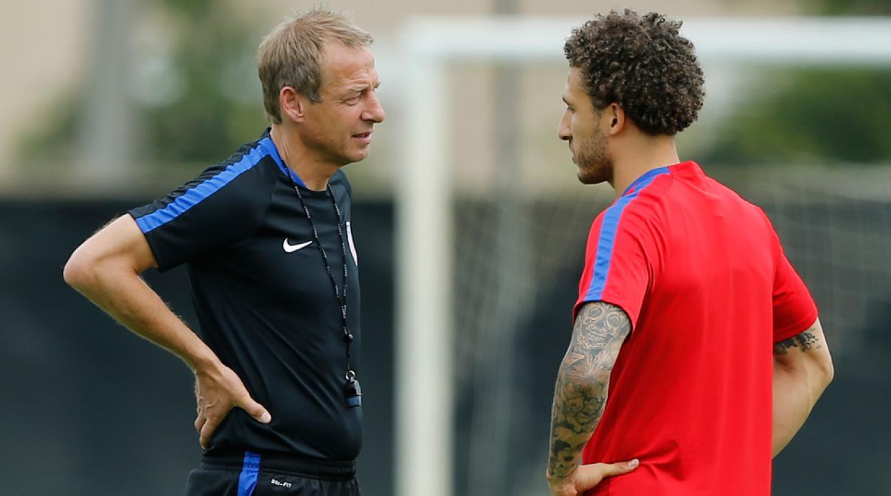 Jurgen Klinsmann and Fabian Johnson in U.S. training camp