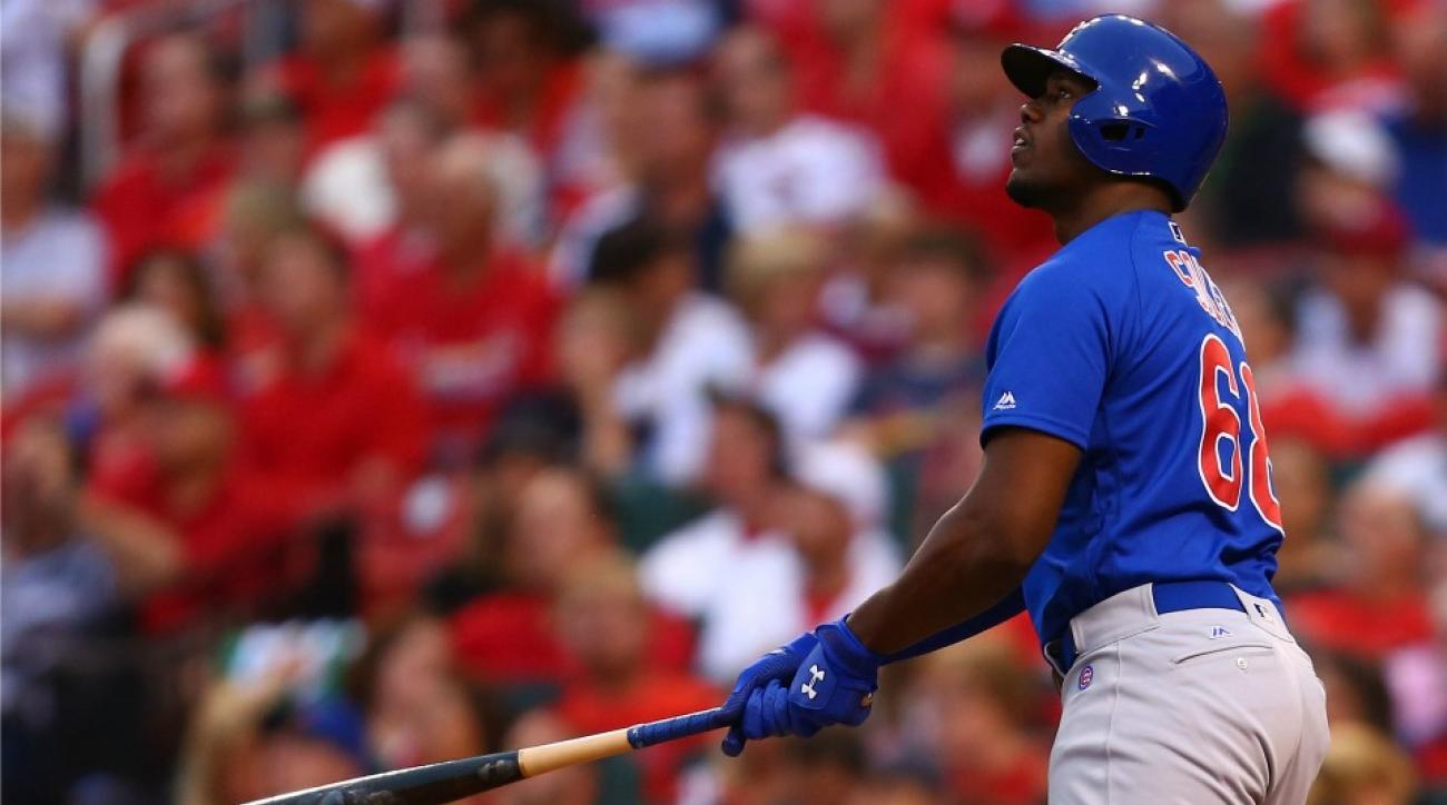 Cubs' Jorge Soler mad binoculars in the dugout during Cardinals game