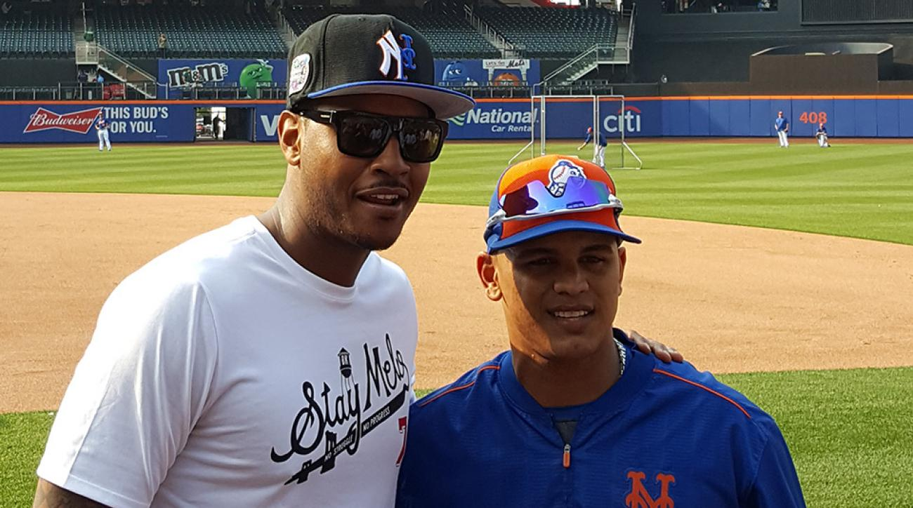 knicks carmelo anthony yankees mets hat photo
