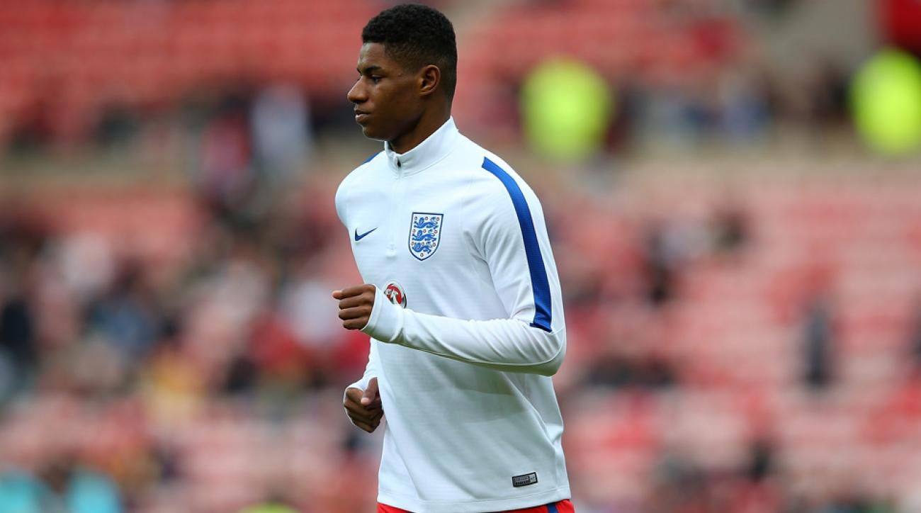 Marcus Rashford scores on his England debut