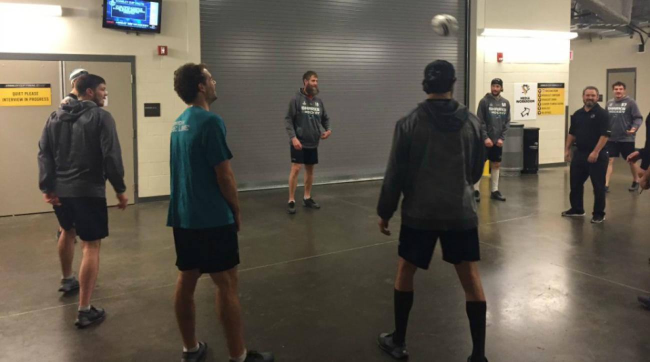 stanley cup san jose sharks warmup soccer video
