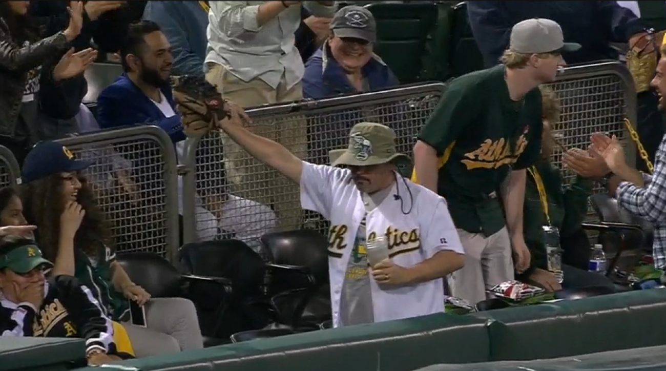 oakland athletics fan steals beer video