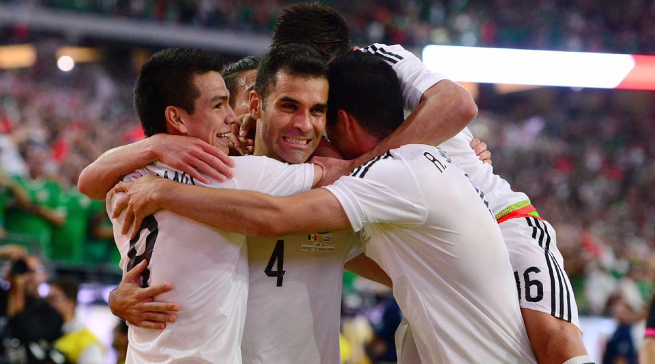 Rafa Marquez celebrates his Copa America winner for Mexico vs Uruguay