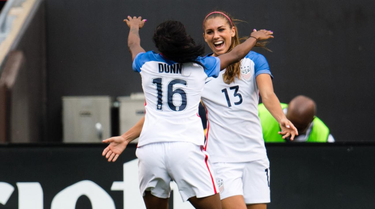 Crystal Dunn and Alex Morgan celebrate during USA's win over Japan