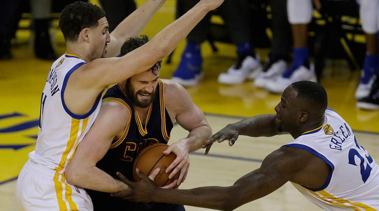Kevin Love and Draymond Green