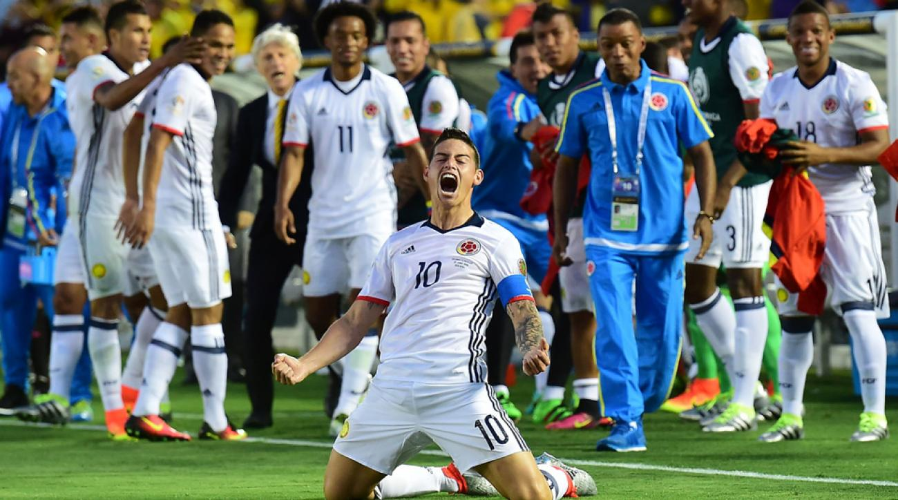 James Rodriguez celebrates his goal for Colombia vs. Paraguay in Copa America
