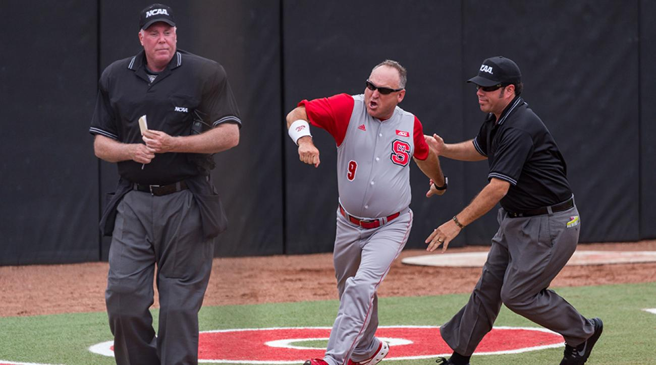 nc state baseball coach spin move ejection argument video