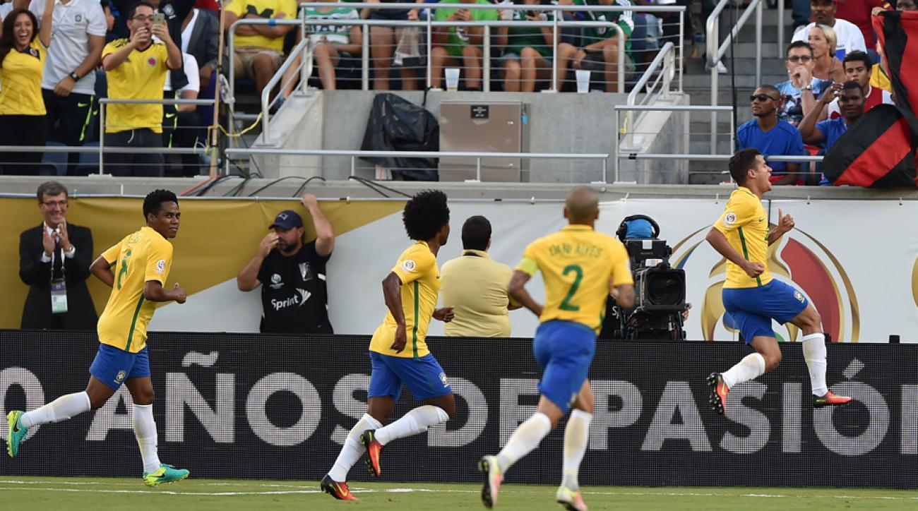Coutinho scores for Brazil against Haiti in Copa America