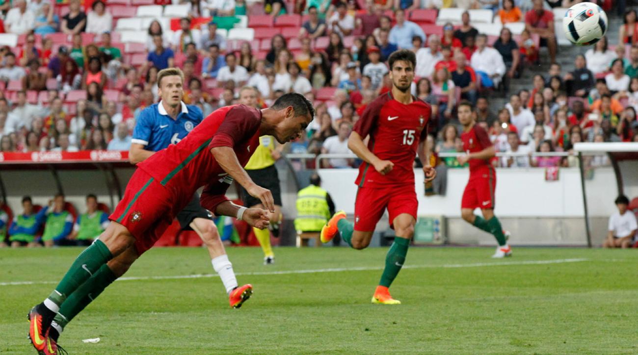 Cristiano Ronaldo scores two goals for Portugal vs. Estonia