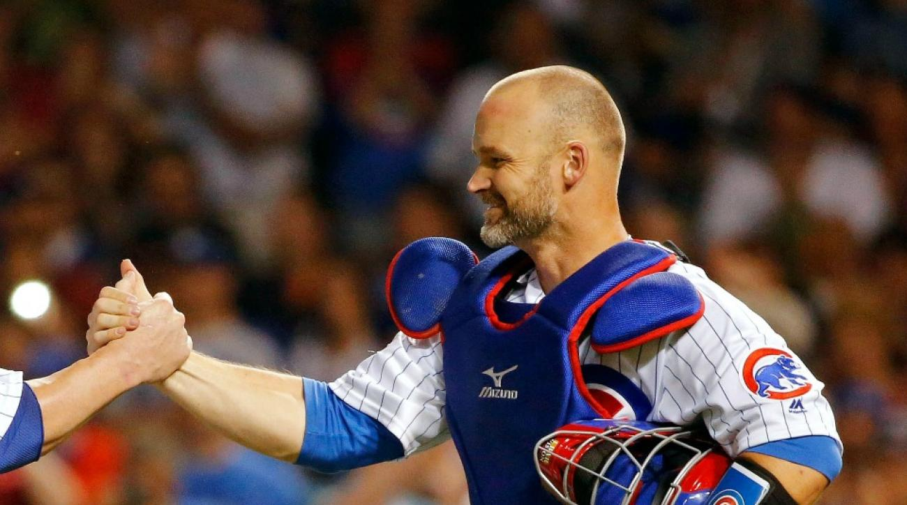 Chicago Cubs' David Ross tries to vote for his teammates