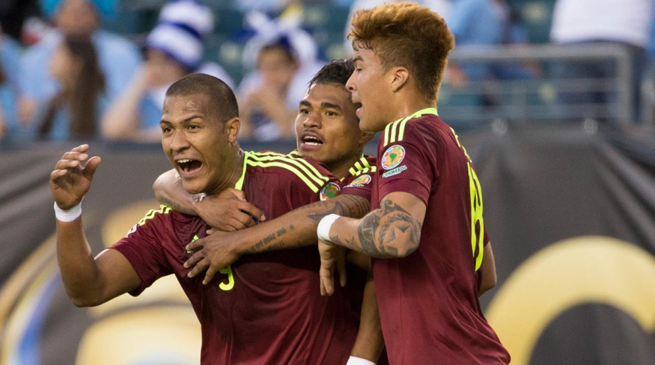 Salomon Rondon scores for Venezuela vs. Uruguay at Copa America