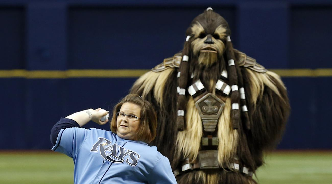 chewbacca mom video rays first pitch